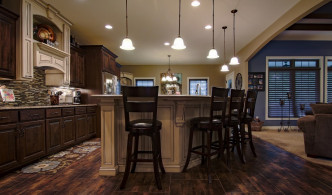 bar stools and kitchen island