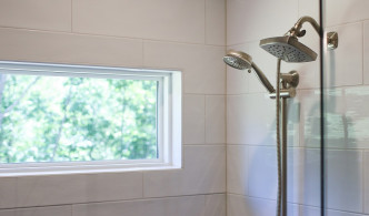 tile shower and shower heads